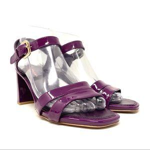 Prada Patent Leather Slingback Block Heel Sandals